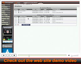 MyDictation.com web site demo video